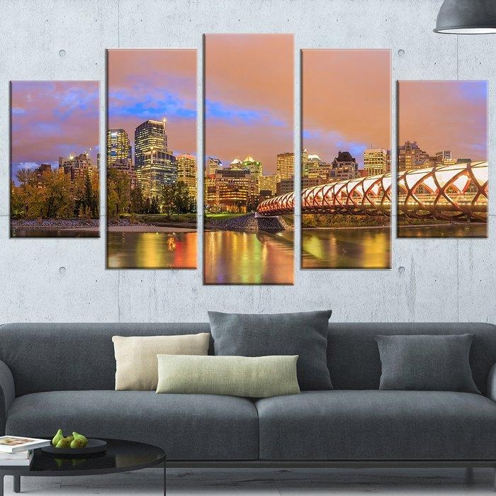 Designart 'calgary At Night' 5 Piece Wall Art On Wrapped Canvas In Calgary Canvas Wall Art (View 5 of 20)