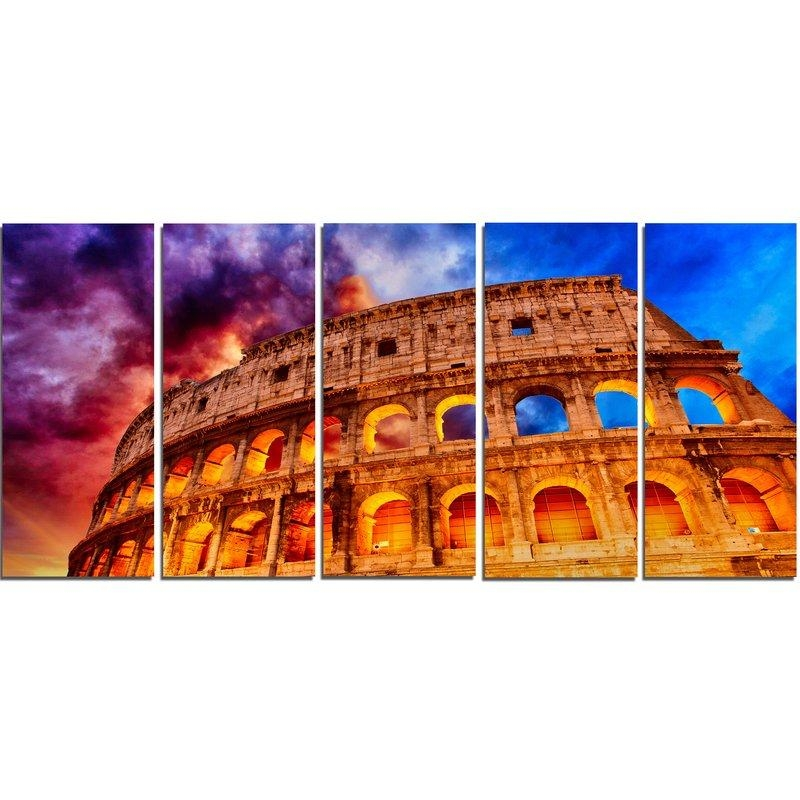 Designart Colosseum Rome Italy 5 Piece Wall Art On Wrapped Canvas Throughout Canvas Wall Art Of Rome (Image 13 of 20)