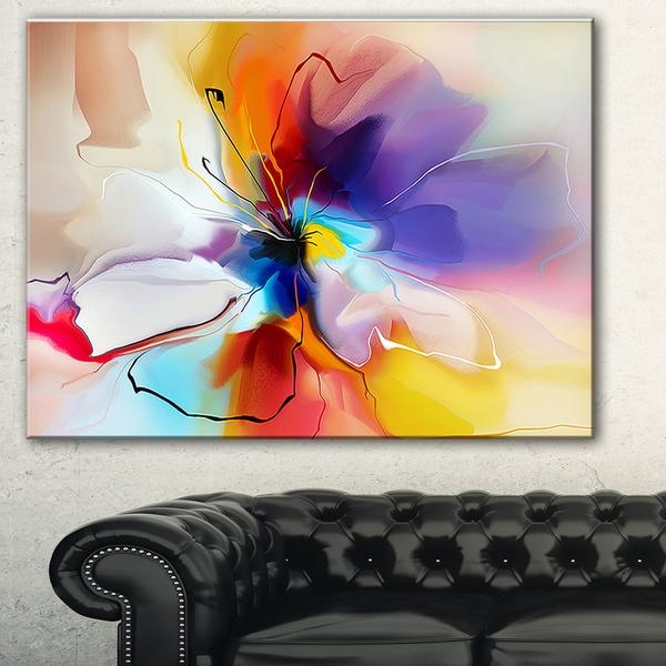Designart 'creative Flower In Multiple Colors' Abstract Floral Inside Abstract Floral Canvas Wall Art (Image 7 of 20)