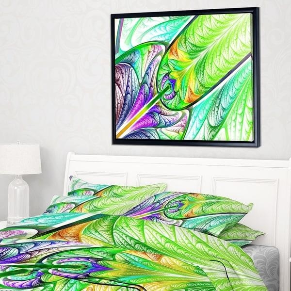 Designart 'green Blue Fractal Stained Glass' Abstract Wall Art Throughout Glass Abstract Wall Art (Photo 18 of 20)