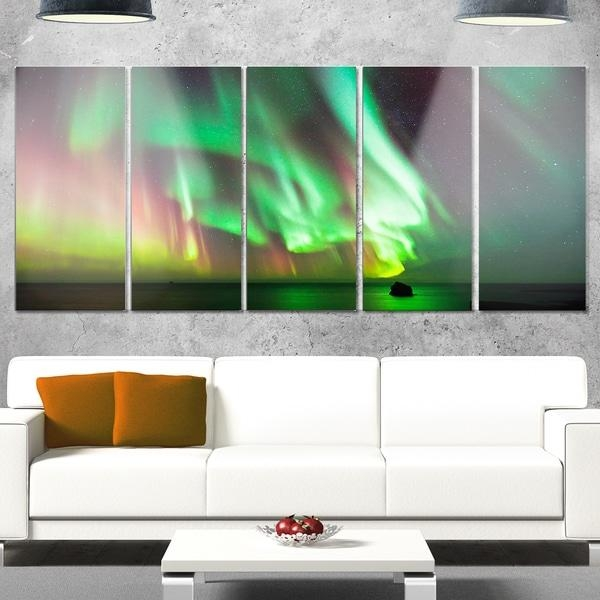 Designart 'green Northern Lights Aurora' Large Abstract Glossy Throughout Overstock Abstract Wall Art (View 14 of 20)