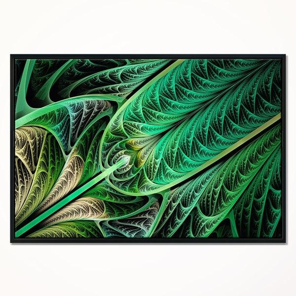 Designart 'green On Black Fractal Stained Glass' Abstract Wall Art Inside Glass Abstract Wall Art (View 12 of 20)