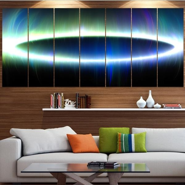 Designart 'large Blue Oval Fractal Light' Abstract Wall Art On Inside Light Abstract Wall Art (Image 8 of 20)