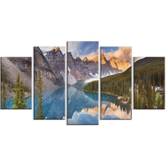 Designart 'moraine Lake In Banff Park Canada' 5 Piece Wall Art On Inside Canvas Wall Art In Canada (Image 9 of 20)
