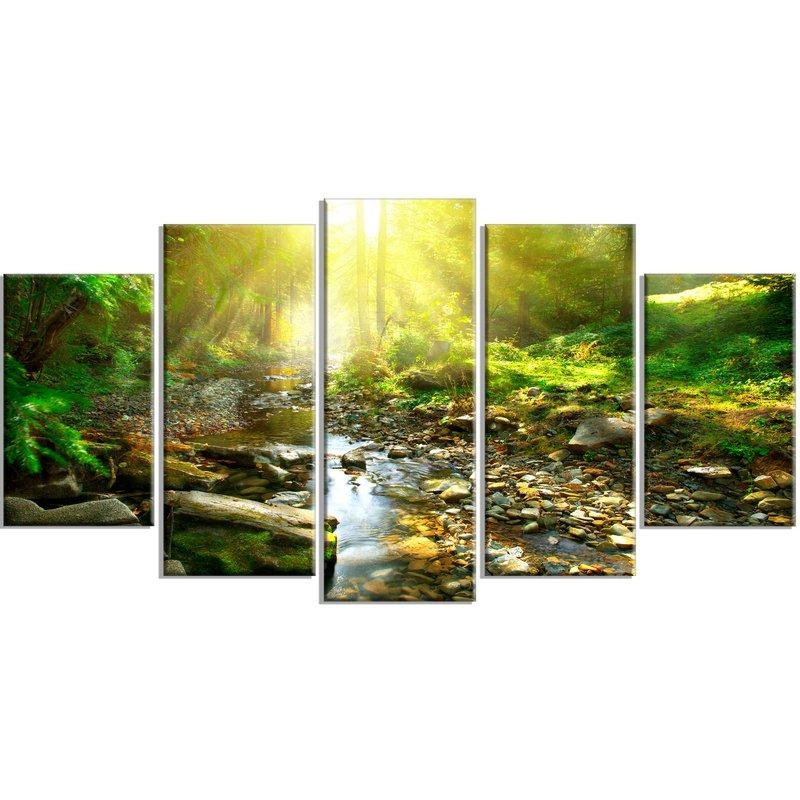 Designart 'mountain Stream In Forest' 5 Piece Wall Art On Wrapped Pertaining To Canvas Wall Art At Wayfair (View 6 of 20)