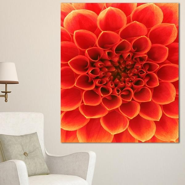 Designart 'orange Abstract Floral Design' Modern Floral Canvas Throughout Abstract Floral Canvas Wall Art (Image 8 of 20)
