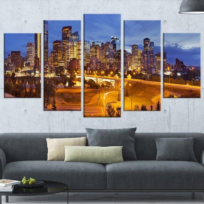 Designart 'skyline Of Calgary At Night Panorama' 5 Piece Wall Art Pertaining To Calgary Canvas Wall Art (Image 11 of 20)