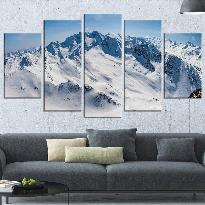 Designart 'snowy Mountains Panoramic View' 5 Piece Wall Art On Inside Mountains Canvas Wall Art (Image 9 of 20)