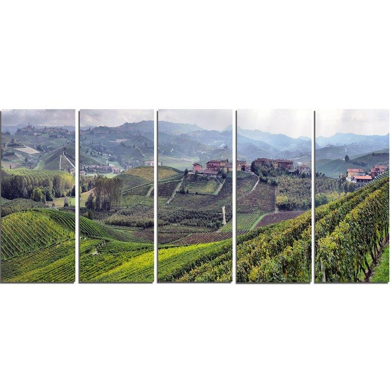 Designart Vineyards In Italy Panoramic 5 Piece Wall Art On Wrapped Regarding Canvas Wall Art At Wayfair (Image 8 of 20)