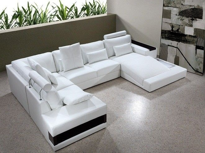 "Diamond Modern White Leather ""u"" Shaped Sectional Sofa W/ Lights In Modern U Shaped Sectionals (Image 1 of 10)"