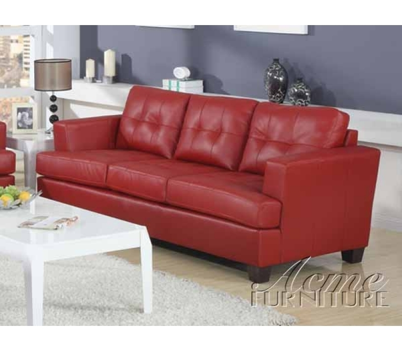Diamond Red Leather Sleeper Sofaacme – 15063 Throughout Red Sleeper Sofas (Image 4 of 10)