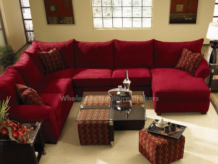 Diggin' The Red Sectional And The Coffee Table With The Pull Out Intended For Red Leather Sectionals With Ottoman (Image 4 of 10)