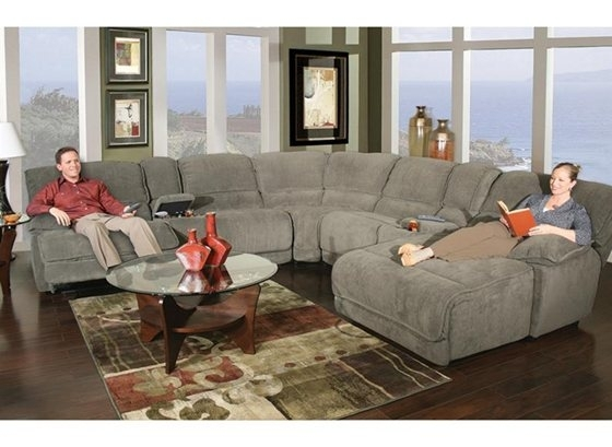 Dimples Steel 7 Piece Power Reclining Sectional | Living Room Within Kanes Sectional Sofas (Image 4 of 10)