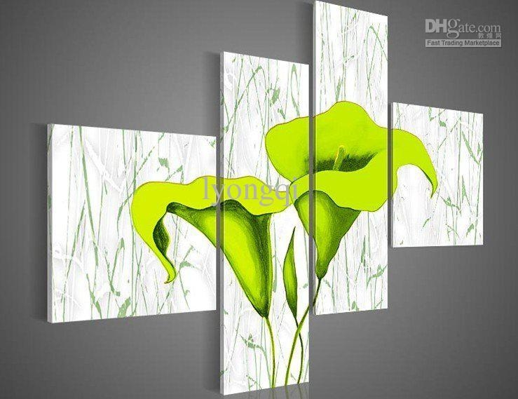Discount Hand Painted Hi Q Modern Wall Art Home Decorative With Regard To Lime Green Canvas Wall Art (Image 3 of 20)