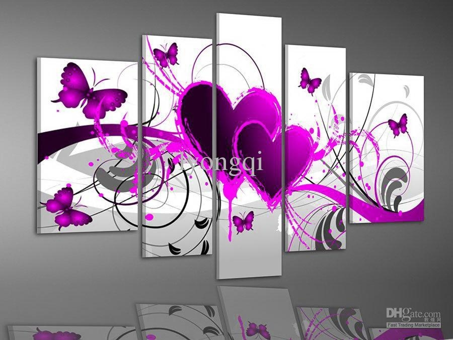 Discount Hand Painted Hi Q Modern Wall Art Picture Home Decor Pertaining To Abstract Heart Wall Art (Image 7 of 20)