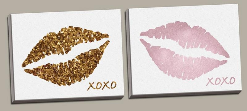 District17: Glitter Lips And Pink Lips Canvas Wall Art Set: Canvas For Glitter Canvas Wall Art (Image 2 of 20)