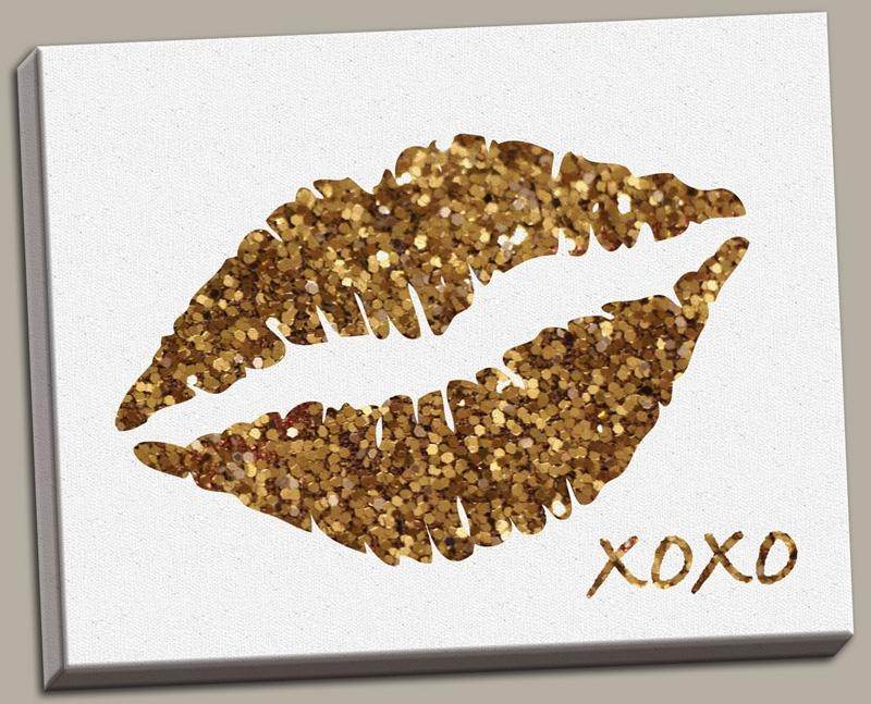 District17: Glitter Lips Canvas Wall Art: Canvas Wall Art Intended For Glitter Canvas Wall Art (Image 3 of 20)