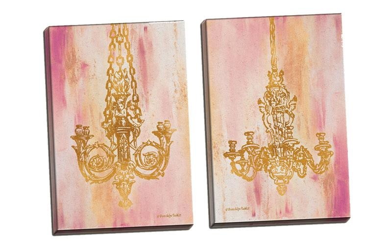 District17: Pink And Gold I, Ii Canvas Wall Art Set: Canvas Wall Art For Gold Canvas Wall Art (Image 6 of 20)