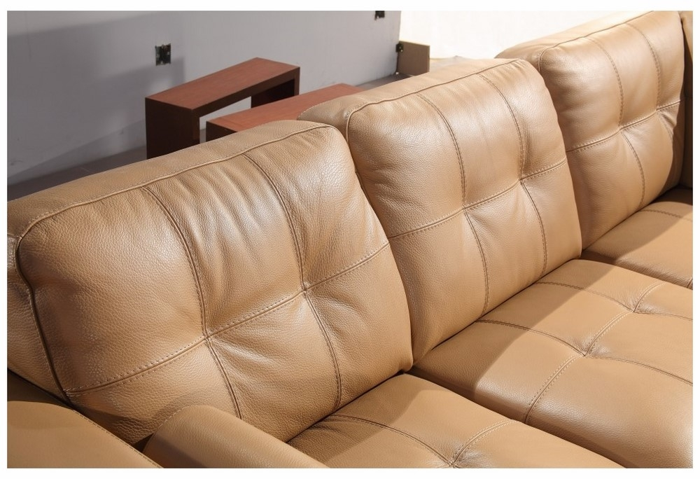 Divani Casa 306Ang Camel Leather Sectional Sofa With Regard To Camel Sectional Sofas (Image 8 of 10)