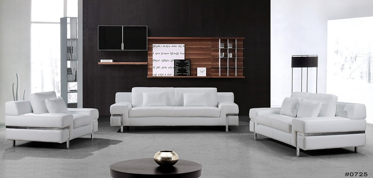 Divani Casa Clef – Modern White Leather Sofa Set For White Leather Sofas (Photo 9 of 10)