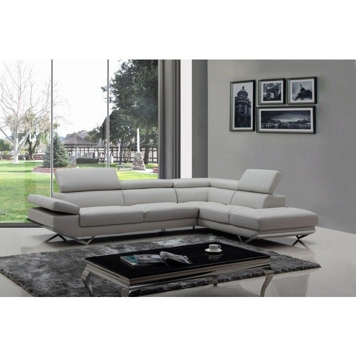 Divani Casa Quebec Modern Light Grey Eco Leather Sectional Sofa | Quebec In Quebec Sectional Sofas (Image 2 of 10)
