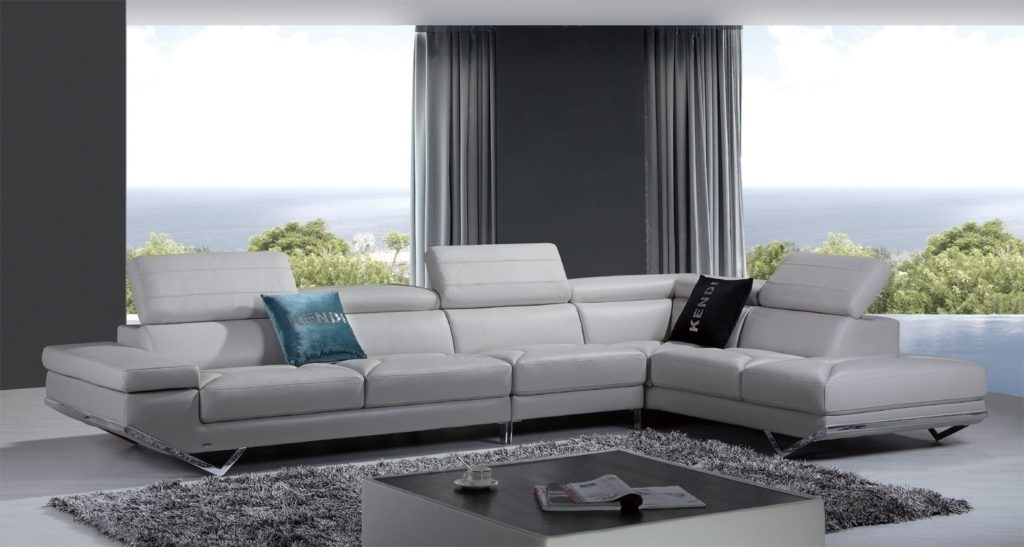 Divani Casa Quebec Modern Light Grey Italian Leather Sectional Sofa Within Quebec Sectional Sofas (Image 3 of 10)