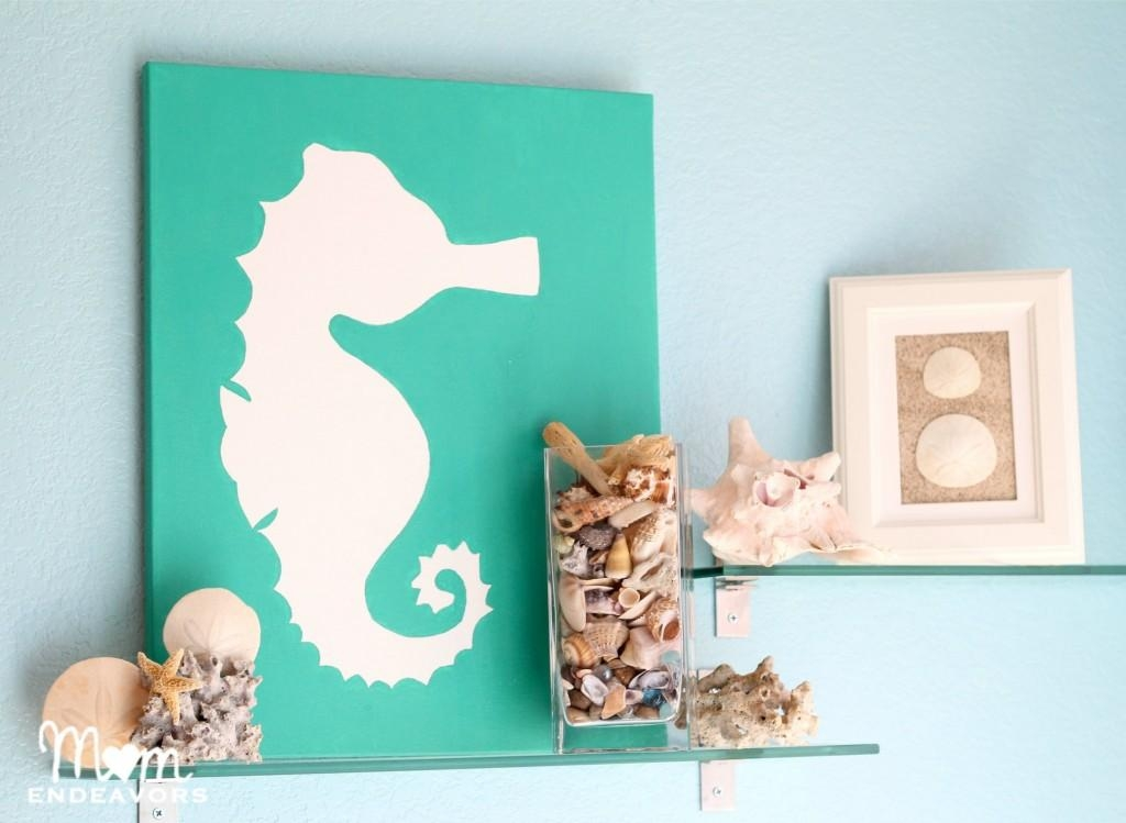 Diy Beach Themed Art On Canvas Using #seahorse Motif (Image 11 of 20)
