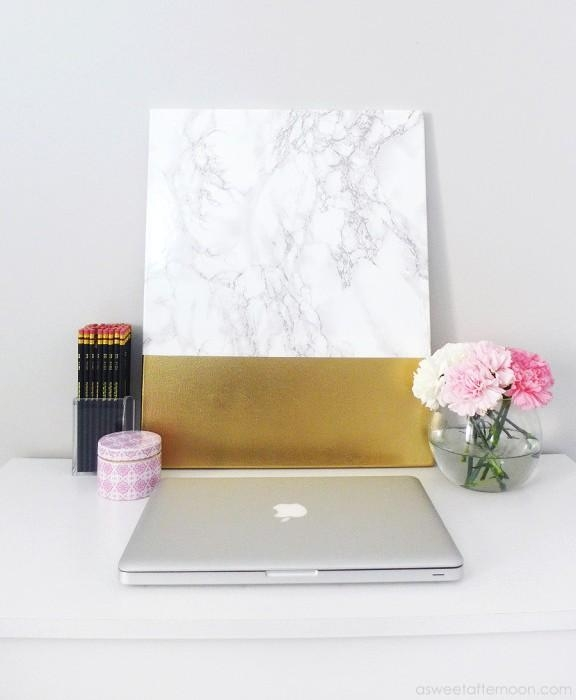 Diy Faux Marble And Gold Canvas Wall Art – Shelterness For Gold Canvas Wall Art (Image 7 of 20)