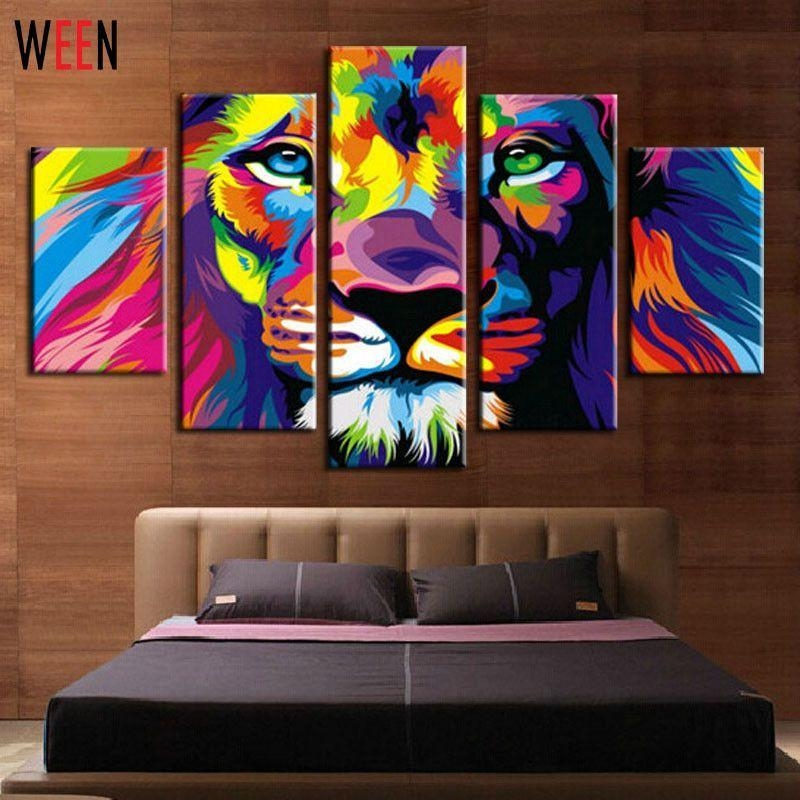 Diy Framed Lion King Animal Abstract Print Canvas Painting Wall With Regard To Lion King Canvas Wall Art (Image 10 of 20)