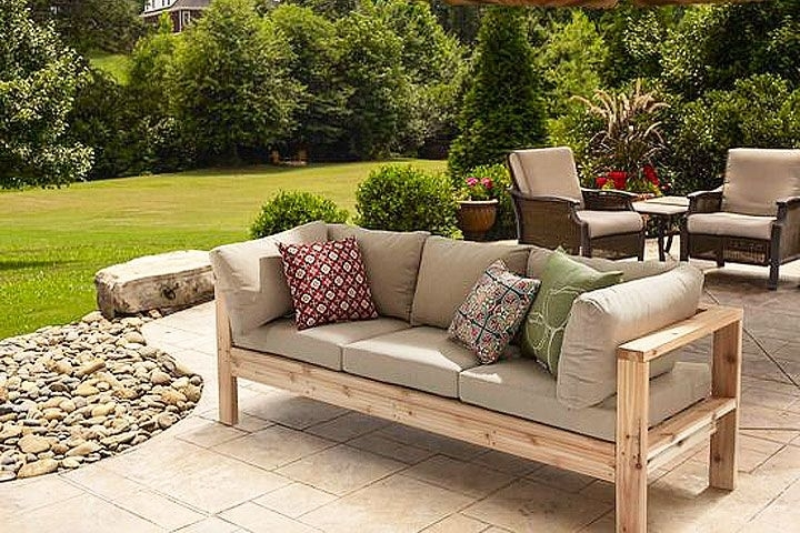 Diy – Summer Outdoor Sofa | Met, Board And Modern Pertaining To Patio Sofas (Image 3 of 10)
