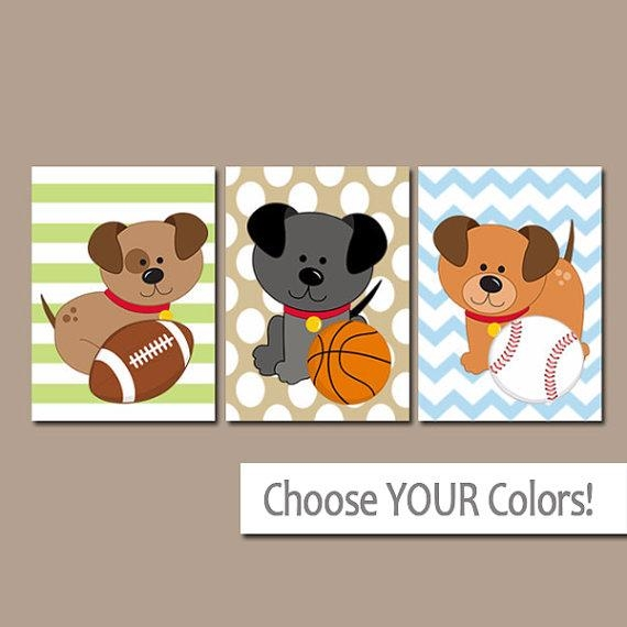 Dogs Sport Wall Art Baby Boy Nursery Art Puppy Sports Within Dogs Canvas Wall Art (Image 13 of 20)