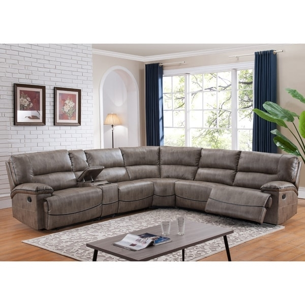 Donovan Sectional Sofa With 3 Reclining Seats – Free Shipping Today With Regard To Overstock Sectional Sofas (Image 3 of 10)
