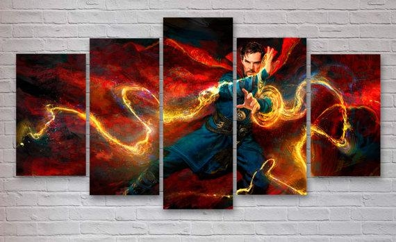 Dr Strange – Marvel Movie 5 Panel / Piece Canvas – Wall Art Pertaining To Movies Canvas Wall Art (Image 8 of 20)