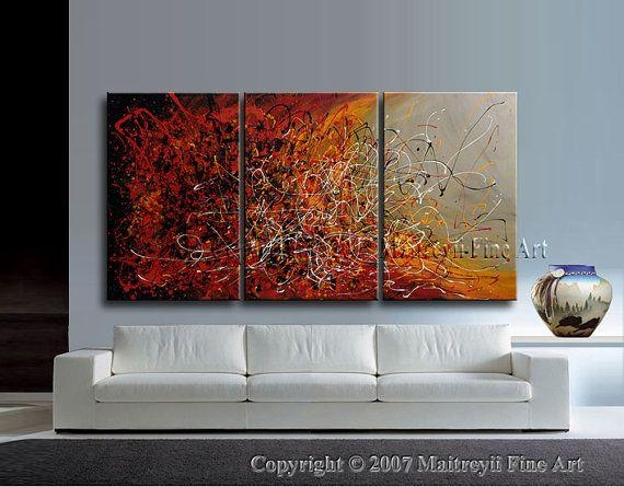 Drip Painting Red Abstract Art Original Artwork Modern Acrylic Intended For Abstract Oversized Canvas Wall Art (Image 3 of 20)
