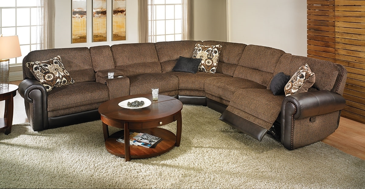 Dual Power Reclining Tweed Storage Sectional | Haynes Furniture With Regard To Haynes Sectional Sofas (Image 2 of 10)