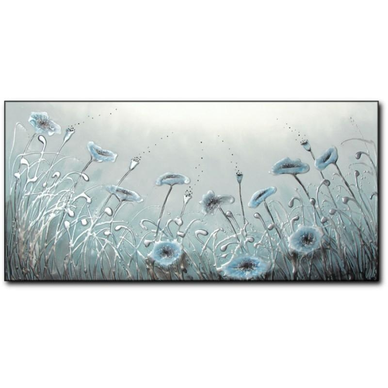 Duck Egg Blue Poppies Within Duck Egg Canvas Wall Art (Image 4 of 20)