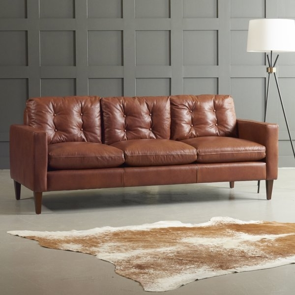 Dwellstudio Leather Sofa & Reviews | Dwellstudio Intended For Florence Medium Sofas (Image 3 of 10)