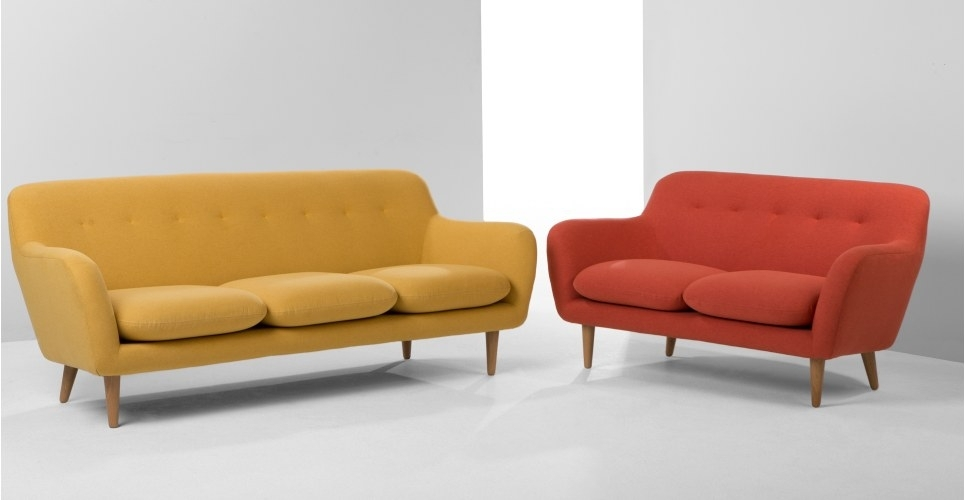 Dylan 3 Seater Sofa, Retro Orange | Made Throughout Cheap Retro Sofas (Image 4 of 10)