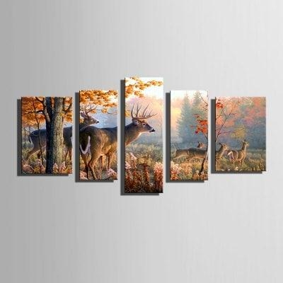 E – Home Canvas Prints Deer Hanging Wall Art 5Pcs S $ (View 15 of 20)