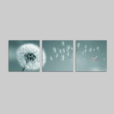 E – Home Pretty Dandelion Canvas Mural Wall Clock 3Pcs $ (View 12 of 20)