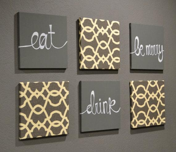 Eat Drink & Be Merry Wall Art Pack Of 6 Canvas Wall Hangings Hand In Eat Canvas Wall Art (View 3 of 20)
