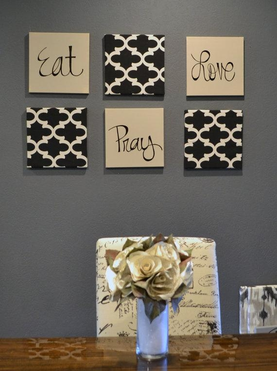 Eat Pray Love Wall Art Pack Of 6 Canvas Wall Hangings Hand For Eat Canvas Wall Art (Image 13 of 20)