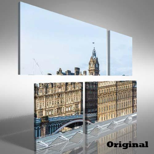 Edinburgh City Centre Duo Offset Canvas Print Large Picture Wall Pertaining To Edinburgh Canvas Prints Wall Art (Image 11 of 20)