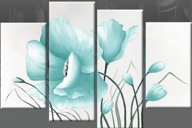 Egg Blue Large Poppy With Buds In 4 Panel Canvas Wall Art Print 40 Throughout Duck Egg Blue Canvas Wall Art (Photo 2 of 20)