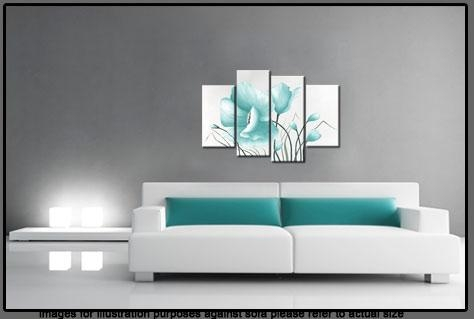 Egg Blue Large Poppy With Buds In 4 Panel Canvas Wall Art Print 40 With Duck Egg Blue Canvas Wall Art (Image 8 of 20)