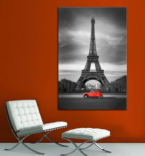 Eiffel Tower Red Car Paris Black White Wall Art Canvas Giclee Within Eiffel Tower Canvas Wall Art (Image 8 of 20)
