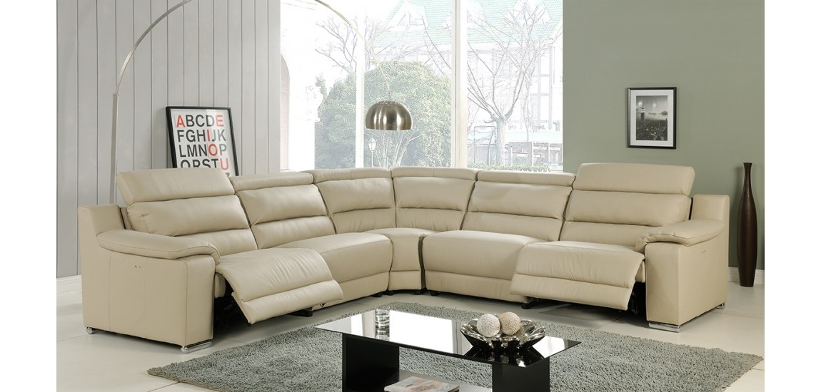 Elda Power Reclining Sectional Sofa In Beige Leather Pertaining To Sectional Sofas With Power Recliners (Image 3 of 10)