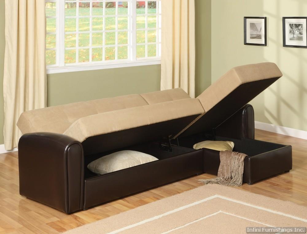 Elegant Microfiber Sectional Sleeper Sofa Lakeland Sectional Sleeper For Sectional Sofas With Storage (View 10 of 10)