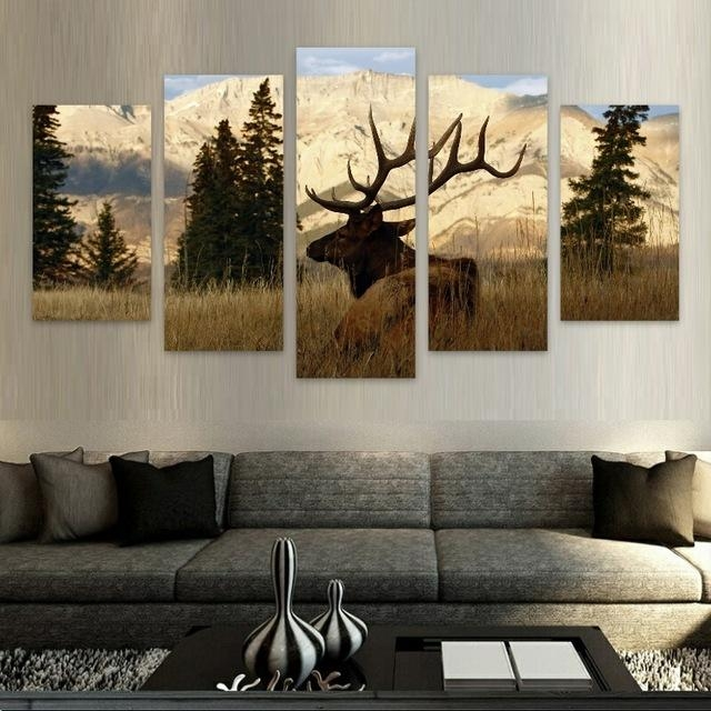 Elk/nature Hd Canvas Wall Art Free Shipping In Painting With Deer Canvas Wall Art (View 13 of 20)