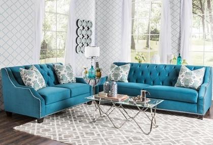 Elsira Premium Velvet 2 Piece Cerulean Blue Sofa Set | Everything In Turquoise Sofas (Photo 3 of 10)